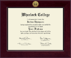 Wheelock College Diploma Frame - Century Gold Engraved Diploma Frame in Cordova