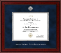 American Institute of Certified Public Accountants Certificate Frame - Presidential Silver Engraved Certificate Frame in Jefferson