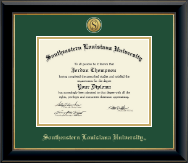 Southeastern Louisiana University Diploma Frame - Gold Engraved Medallion Diploma Frame in Onyx Gold