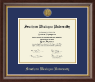Southern Wesleyan University Diploma Frame - Gold Engraved Medallion Diploma Frame in Hampshire