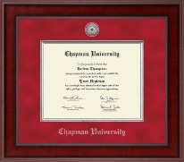 Chapman University Diploma Frame - Presidential Silver Engraved Diploma Frame in Jefferson