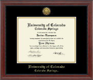 University of Colorado Colorado Springs Diploma Frame - Gold Engraved Medallion Diploma Frame in Signature