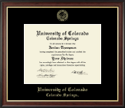 University of Colorado Colorado Springs Diploma Frame - Gold Embossed Diploma Frame in Studio Gold