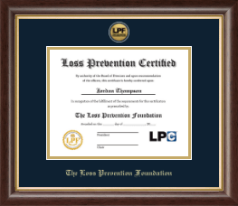The Loss Prevention Foundation Certificate Frame - Gold Engraved Medallion Certificate Frame in Hampshire