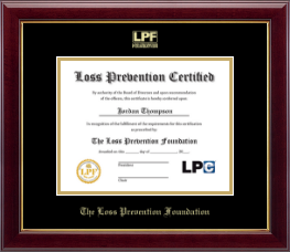 The Loss Prevention Foundation Certificate Frame - Gold Embossed Certificate Frame in Gallery