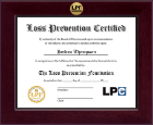 The Loss Prevention Foundation Diploma Frame - Century Gold Engraved Certificate Frame in Cordova