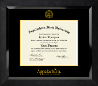 Appalachian State University Diploma Frame - Yellow Embossed Diploma Frame in Eclipse