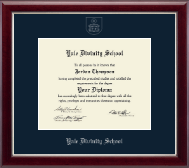 Yale Divinity School Diploma Frame - Silver Embossed Diploma Frame in Gallery Silver