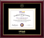 Louisiana State University Health Sciences Center Certificate Frame - Gold Embossed Certificate Frame in Gallery