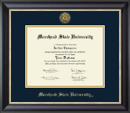 Morehead State University Diploma Frame - Gold Engraved Medallion Diploma Frame in Noir