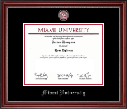 Miami University Diploma Frame - Pewter Masterpiece Medallion Diploma Frame in Kensington Silver