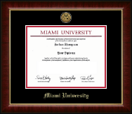Miami University Diploma Frame - Gold Engraved Medallion Diploma Frame in Murano