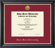 Iowa State University Diploma Frame - Gold Engraved Medallion Diploma Frame in Noir
