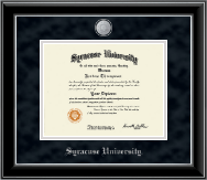 Syracuse University Diploma Frame - Silver Medallion Diploma Frame in Onyx Silver