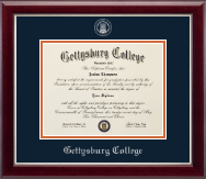 Gettysburg College Diploma Frame - Silver Embossed Diploma Frame in Gallery Silver