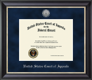 The United States Court of Appeals Certificate Frame - Silver Engraved Medallion Certificate Frame in Noir