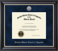 The United States Court of Appeals Certificate Frame - Silver Engraved Medallion Certificate Frame in Midnight
