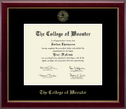 The College of Wooster Diploma Frame - Gold Embossed Diploma Frame in Gallery
