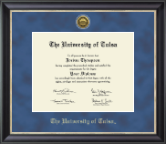 The University of Tulsa Diploma Frame - Gold Engraved Medallion Diploma Frame in Noir