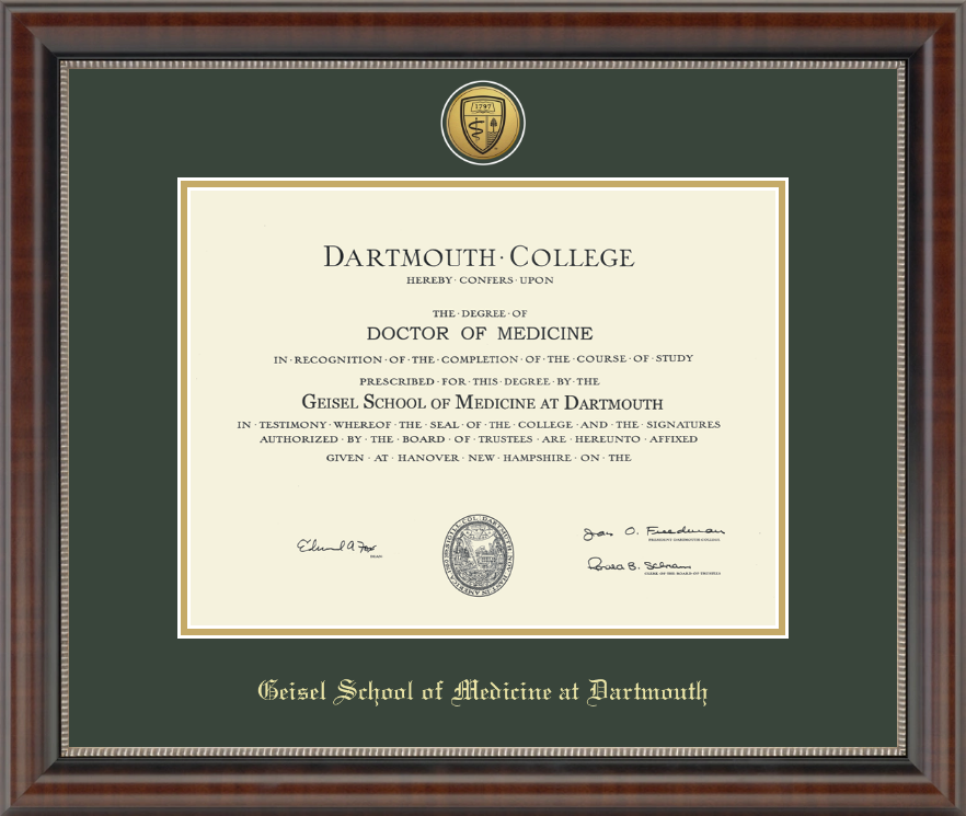Dartmouth College Gold Engraved Medallion Diploma Frame In