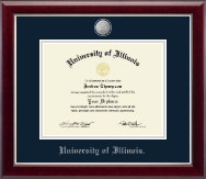 University of Illinois Diploma Frame - Silver Medallion Diploma Frame in Gallery Silver