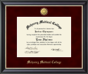 Meharry Medical College Diploma Frame - 23K Medallion Diploma Frame in Noir