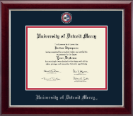 University of Detroit Mercy Diploma Frame - Masterpiece Medallion Diploma Frame in Gallery Silver