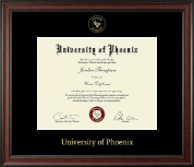 University of Phoenix Diploma Frame - Gold Embossed Diploma Frame in Studio