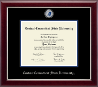 Central Connecticut State University Diploma Frame - Masterpiece Medallion Diploma Frame in Gallery Silver