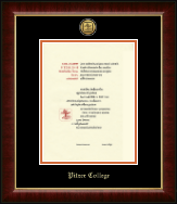 Pitzer College Diploma Frame - Gold Engraved Medallion Diploma Frame in Murano