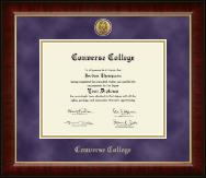 Converse College Diploma Frame - Gold Engraved Medallion Diploma Frame in Murano