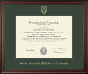 Dartmouth College Diploma Frame - Gold Embossed Diploma Frame in Studio