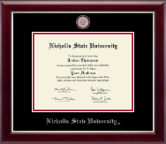 Nicholls State University Diploma Frame - Masterpiece Medallion Diploma Frame in Gallery Silver