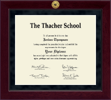 The Thacher School Diploma Frame - Millennium Gold Engraved Diploma Frame in Cordova