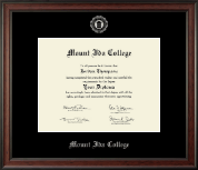 Mount Ida College Diploma Frame - Silver Embossed Diploma Frame in Studio