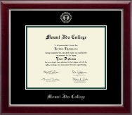 Mount Ida College Diploma Frame - Silver Embossed Diploma Frame in Gallery Silver