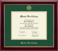 Mount Ida College Diploma Frame - Gold Embossed Diploma Frame in Gallery