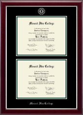 Mount Ida College Diploma Frame - Double Diploma Frame in Gallery Silver