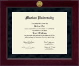 Marian University in Wisconsin Diploma Frame - Millennium Gold Engraved Diploma Frame in Cordova