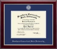Southern Connecticut State University Diploma Frame - Masterpiece Medallion Diploma Frame in Gallery Silver