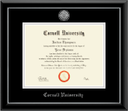 Cornell University Diploma Frame - Silver Engraved Medallion Diploma Frame in Onyx Silver