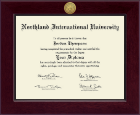 Northland International University Diploma Frame - Century Gold Engraved Diploma Frame in Cordova