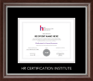 Human Resource Certification Institute Certificate Frame - Silver Embossed Certificate Frame in Devonshire