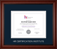 Human Resource Certification Institute Certificate Frame - Silver Embossed Certificate Frame in Cambridge