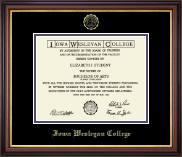 Iowa Wesleyan College Diploma Frame - Gold Embossed Diploma Frame in Regency Gold