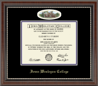 Iowa Wesleyan College Diploma Frame - Campus Cameo Diploma Frame in Chateau
