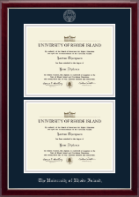 The University of Rhode Island Diploma Frame - Double Diploma Frame in Gallery Silver