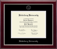 Heidelberg University Tiffin Diploma Frame - Silver Embossed Diploma Frame in Gallery Silver
