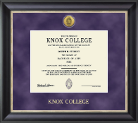 Knox College Diploma Frame - Gold Engraved Medallion Diploma Frame in Noir
