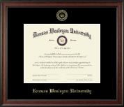Kansas Wesleyan University Diploma Frame - Gold Embossed Diploma Frame in Studio